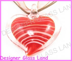 P918F LAMPWORK GLASS RED HEART PENDANT NECKLACE GIFT