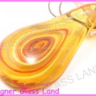 P923F LAMPWORK GLASS TOPAZ SWIRL LEAF PENDANT NECKLACE