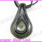P924F LAMPWORK GLASS BLACK SWIRL LEAF PENDANT NECKLACE