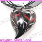 P928F LAMPWORK GLASS BLACK SWIRL HEART PENDANT NECKLACE