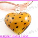 P932 LAMPWORK GLASS BN LEOPARD HEART PENDANT NECKLACE