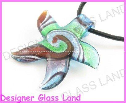 P935F LAMPWORK GLASS SWIRL STAR PENDANT NECKLACE