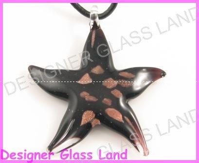 P936F LAMPWORK GLASS BLACK STAR PENDANT NECKLACE
