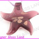 P937F LAMPWORK GLASS PURPLE STAR PENDANT NECKLACE