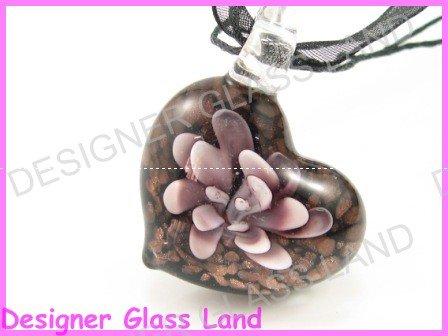 P992F LAMPWORK GLASS BLACK 3D HEART PENDANT NECKLACE