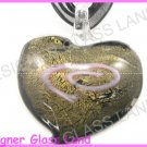 P995FLAMPWORK GLASS BLACK GOLDEN HEART PENDANT NECKLACE