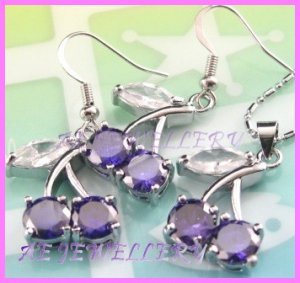 AS378F 8MM AMETHYST CHERRY SILVER PENDANT EARRINGS SETS