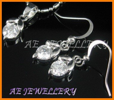 """A1484AF White Topaz Round Cut 18K White Gold Plated Pendant Necklace Earrings Sets 16"""""""