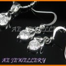 A1484AF White Topaz Round Cut 18K White Gold Plated Pendant Necklace Earrings Sets 16""