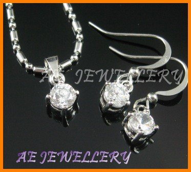 """A1493BF White Topaz Round Cut 18K White Gold Plated Pendant Necklace Earrings Sets 16"""""""
