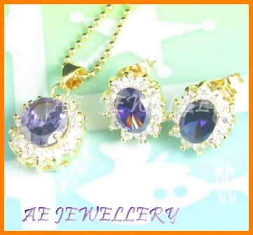AS010F Amethyst White Topaz Oval Round Cut 18K Yellow Gold Plated Pendant Necklace Earrings Sets