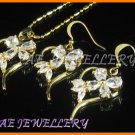 "AS018F Heart Floral White Topaz Pear Cut 18K Yellow Gold Plated Pendant Earrings Sets 16"" Necklace"
