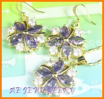 AS027F Amethyst White Topaz Floral 18K Yellow Gold Tone Pendant Necklace Earrings Sets 16""