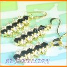 AS034AF Black Sapphire White Topaz 18K Yellow Gold Plated Pendant Necklace Earrings Set 16""
