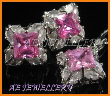 """AS176F Pink Sapphire White Topaz Marquise 18K White Gold Plated Pendant Necklace Earrings Sets 16"""""""