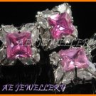 AS176F Pink Sapphire White Topaz Marquise 18K White Gold Plated Pendant Necklace Earrings Sets 16""