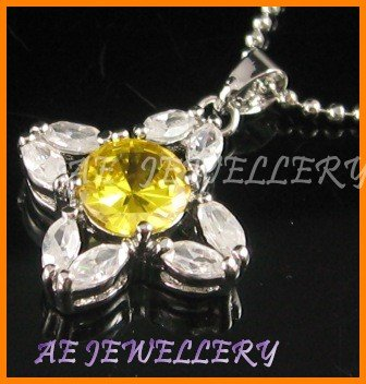 AS184F  LEMON TOPAZ PENDANT NECKLACE 16""