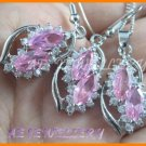 AS193F Pink Sapphire White Topaz 18K White Gold Plated Pendant Necklace Earrings Set 16""
