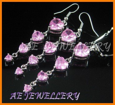 AS194F Pink Sapphire Heart Cut 18K White Gold Plated Pendant Necklace Earrings Set 16""