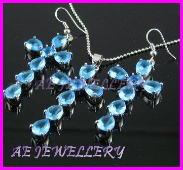 """AS230F Blue Topaz Cross Octagon Round Cut 18K White Gold Plated Pendant Necklace Earrings Set 16"""""""