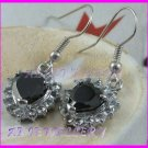AS236F Black Sapphire Glass Silver Pendant Earrings