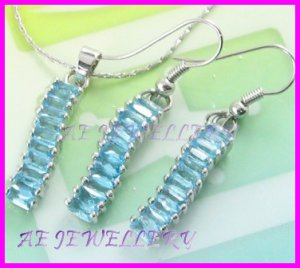 AS243F Blue Topaz Octagon Cut 18K White Gold Plated Pendant Necklace Earrings Set 16""
