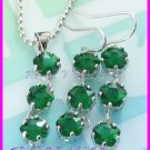 AS239F Emerald Cut 18K White Gold Plated Pendant Necklace Earrings Set 16""