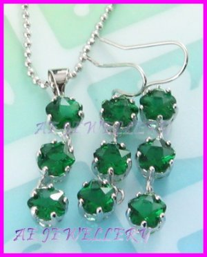 """AS239F Emerald Cut 18K White Gold Plated Pendant Necklace Earrings Set 16"""""""