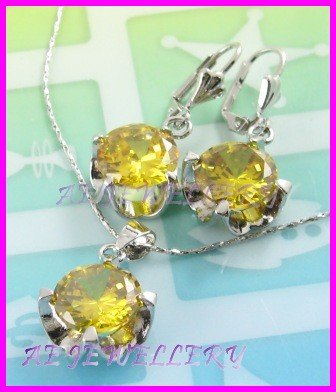 "AS248F 13MM Lemon Quartz Round Cut 18K White Gold Plated Pendant Necklace Earrings Set 16"""