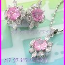 """AS255F Pink Sapphire White Topaz 18K White Gold Plated Pendant Necklace Earrings Set 16"""""""
