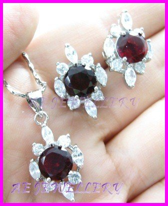 """AS256F RUBY White Topaz 18K White Gold Plated Pendant Necklace Earrings Set 16"""""""