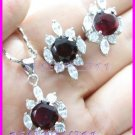 AS256F RUBY White Topaz 18K White Gold Plated Pendant Necklace Earrings Set 16""