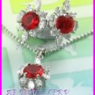 """AS257F Hyacinth White Topaz 18K White Gold Plated Pendant Necklace Earrings Set 16"""""""