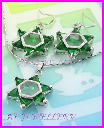 """AS260F Emerald Star Triangle Cut 18K White Gold Plated Pendant Necklace Earrings Set 16"""""""