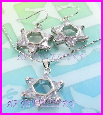 """AS261F White Topaz Star Triangle Cut 18K White Gold Plated Pendant Necklace Earrings Set 16"""""""