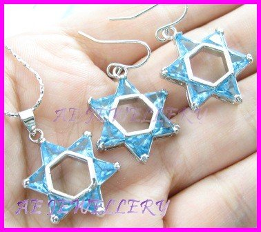 """AS262F BLUE Topaz Star Triangle Cut 18K White Gold Plated Pendant Necklace Earrings Set 16"""""""