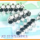 AS039F Black Sapphire White Topaz Round Cut 18K White Gold Plated Pendant Necklace Earrings Set