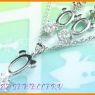 """AS052F White Topaz Round Cut 18K White Gold Plated Pendant Necklace Earrings Set 16"""""""