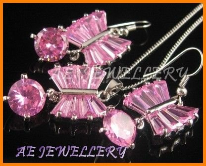 AS135F Pink Sapphire Round Octagon Cut 18K White Gold Plated Pendant Necklace Earrings Set 16""