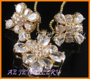"""AS143F White Topaz Round Pear Cut 18K Yellow Gold Plated Pendant Necklace Earrings Set 16"""""""