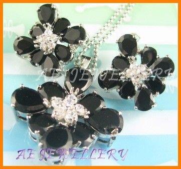 "AS144F Black Sapphire White Topaz 18K White Gold Plated Pendant Necklace Earrings Set 16"""