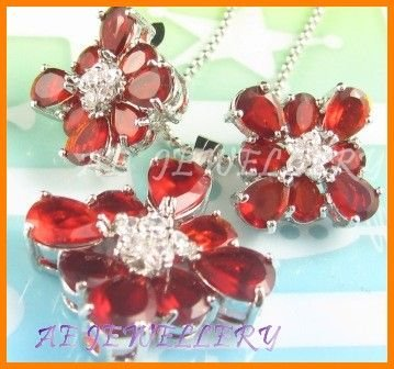 AS145F Ruby White Topaz 18K White Gold Plated Pendant Necklace Earrings Set 16""