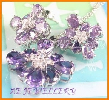"AS146F Amethyst White Topaz 18K White Gold Plated Pendant Necklace Earrings Set 16"""