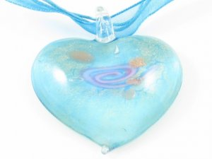 P044S MURANO GLASS PENDANT NECKLACE BLUE ROSE HEART, FREE SHIPPING!!!