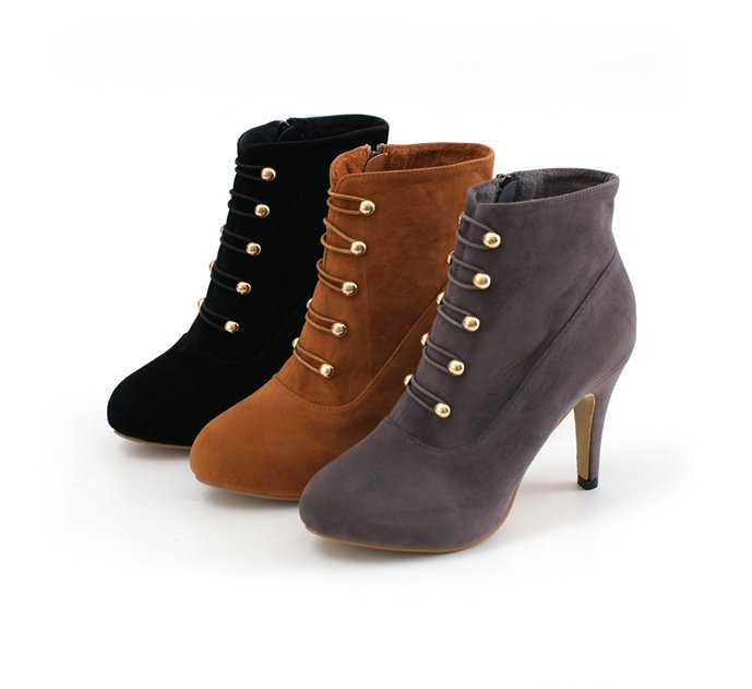Napoleon style inner platform high heels ankle boots