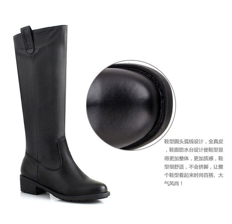 YUEXIUYA EUROPE LEATHER HIGH TUBE MIDDLE HEELS BOOTS