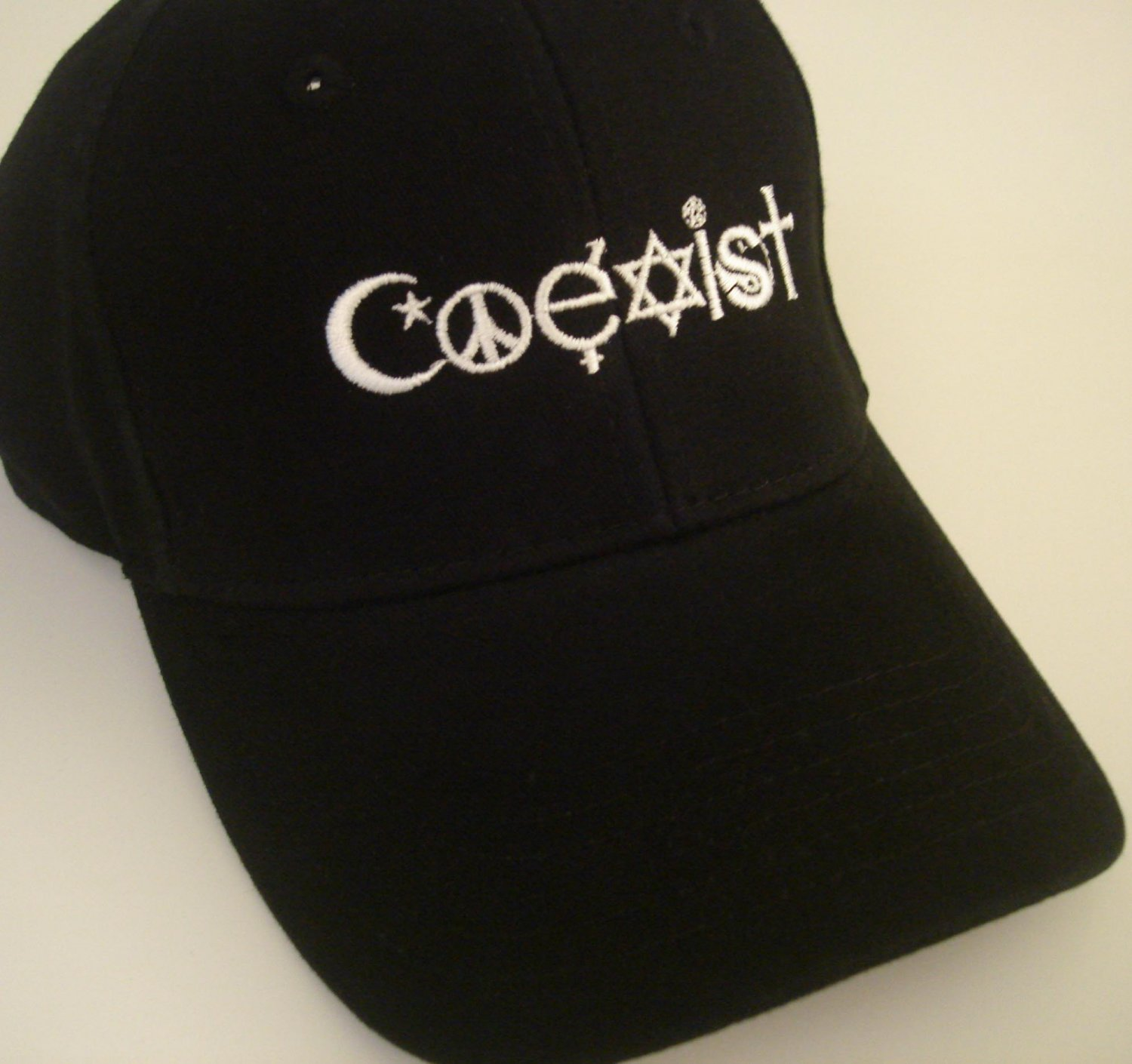 COEXIST embroidered black Hat peace love pacifist cap