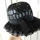 Vintage Striking Black Straw Women Hat Small SO CHIC