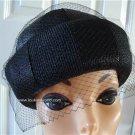 Vintage Black Straw Women Hat Netting XS Ellen Faith NY