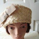 Vintage Beige Straw  Women Hat XS 60's